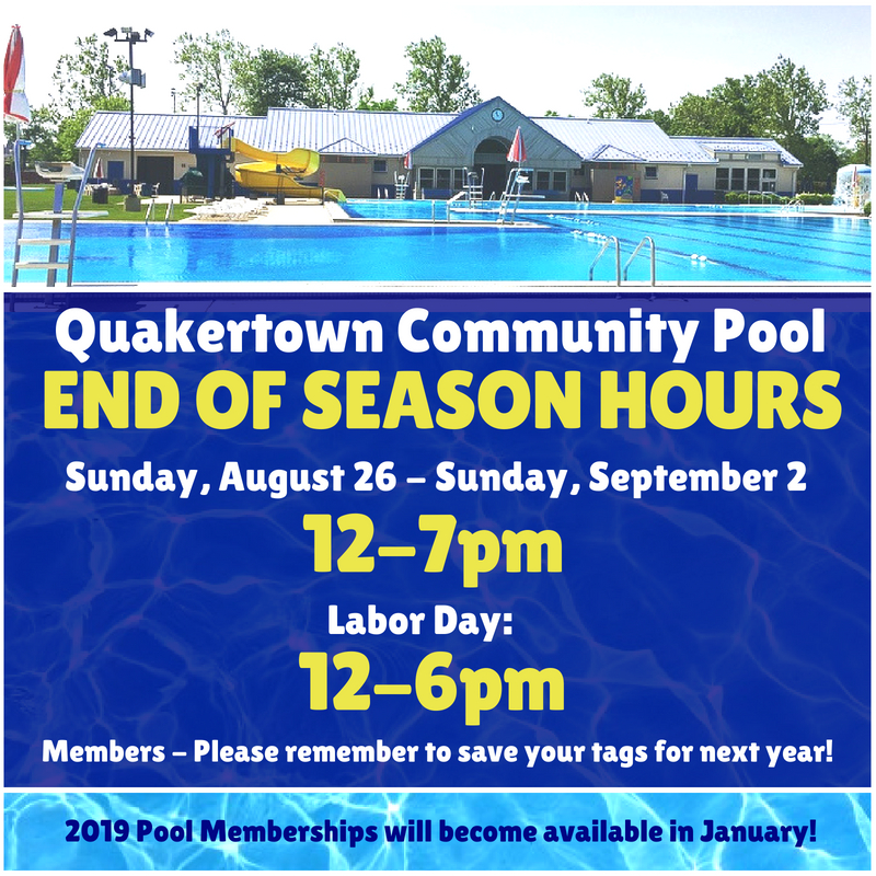 Quakertown Community Pool - End of Season Hours   Latest News