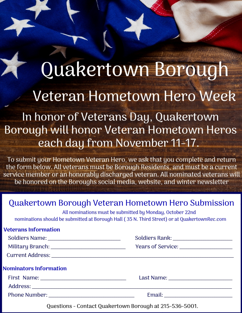 Veteran Hometown Hero Week Nominations Quakertown