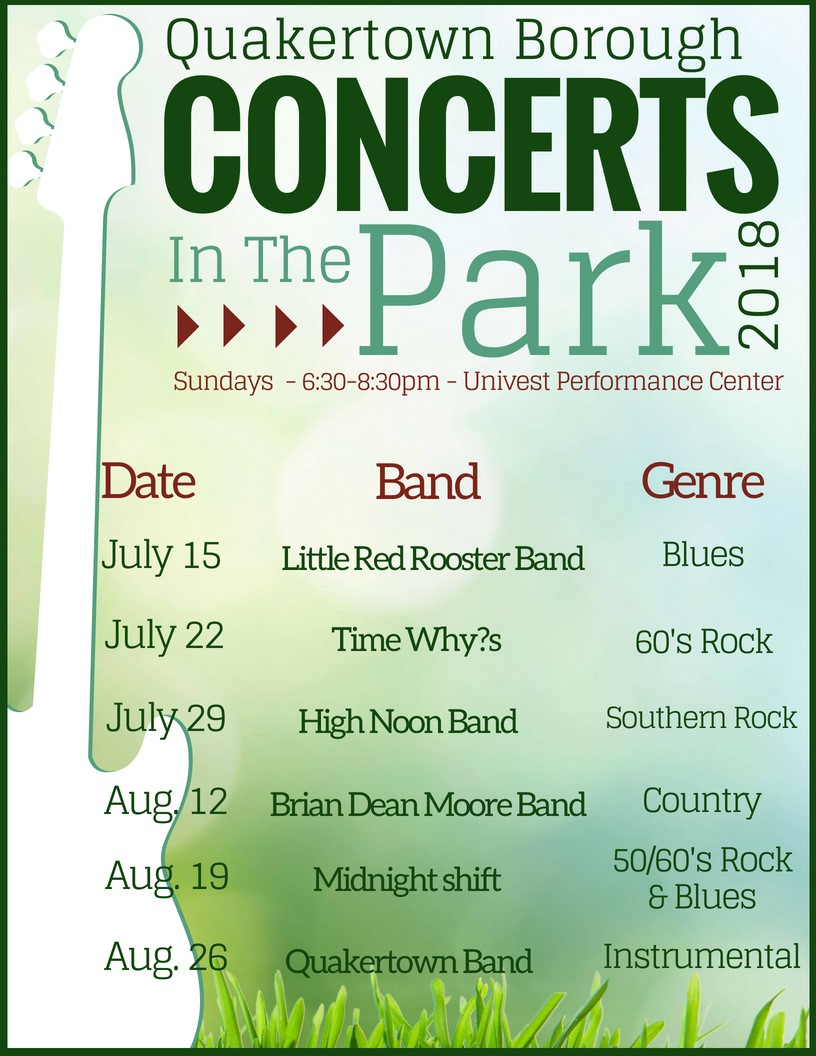 2018 concerts in the park flyer
